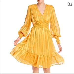 AQUA Shadow stripe smocked dress, Marigold Size L
